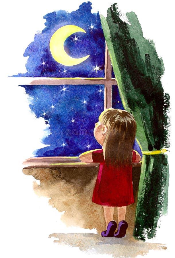 Dreaming. Girl dreaming near night window vector illustration