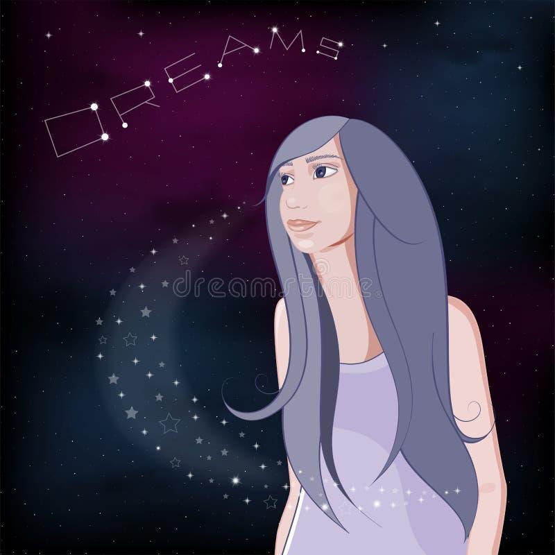 Dreaming girl on night sky background. Vector Illustration. stock illustration
