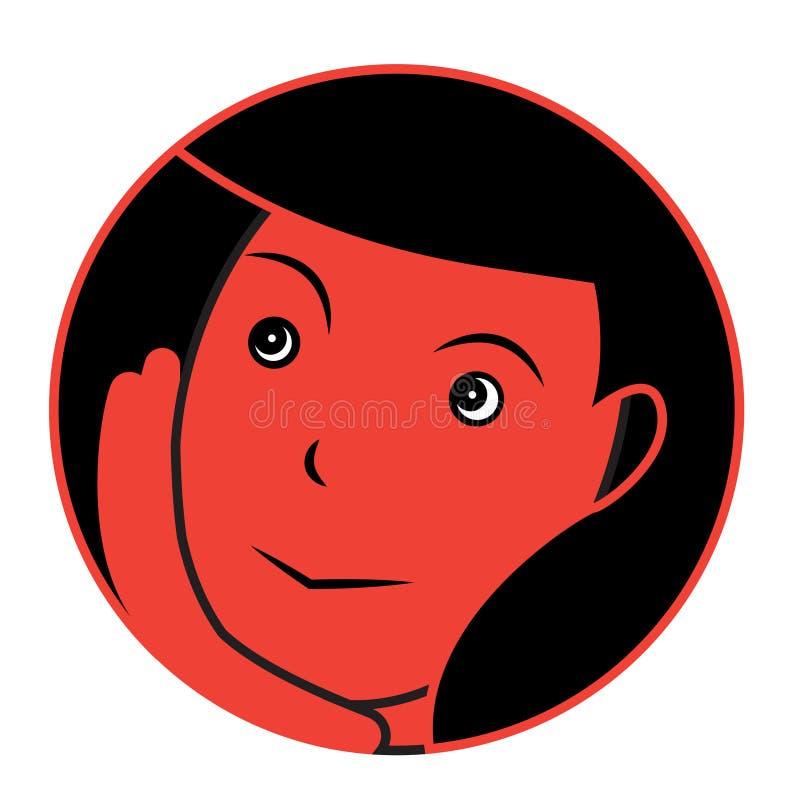 Dreaming girl sticker. Vector flat illustration of a dreaming girl stock illustration