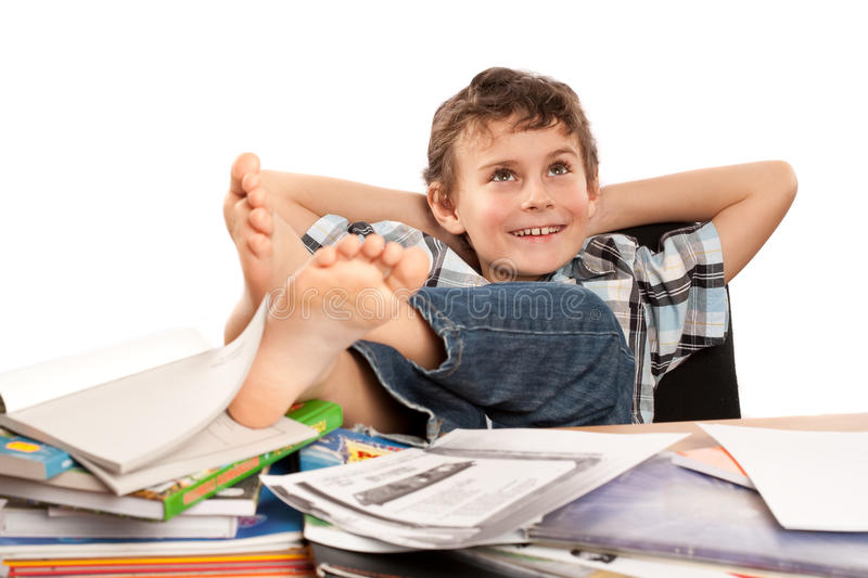 Download Dreaming of holiday stock photo. Image of notebooks, schoolboy - 12807908
