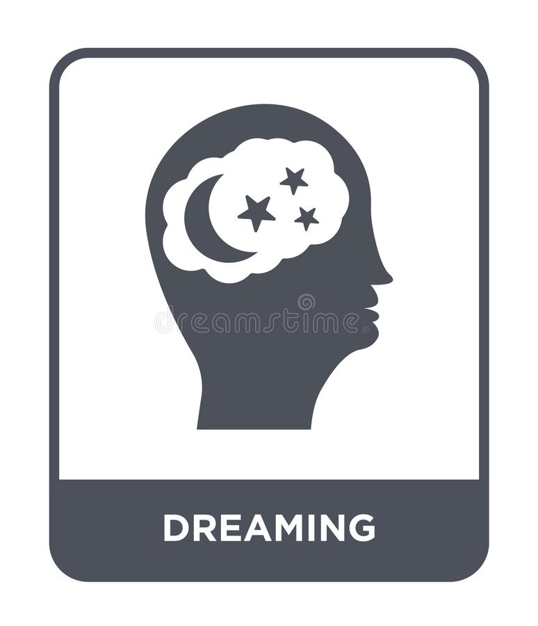 Dreaming icon in trendy design style. dreaming icon isolated on white background. dreaming vector icon simple and modern flat. Symbol for web site, mobile, logo stock illustration