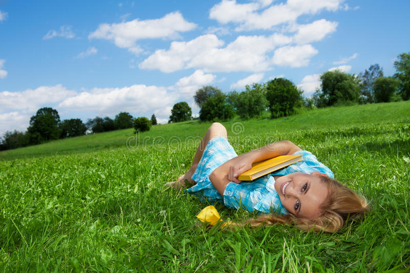 Dreaming on the lawn royalty free stock photography