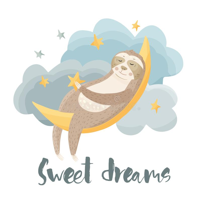 Cartoon sloth dreaming lazy bear. Vector illustration in a flat style royalty free illustration