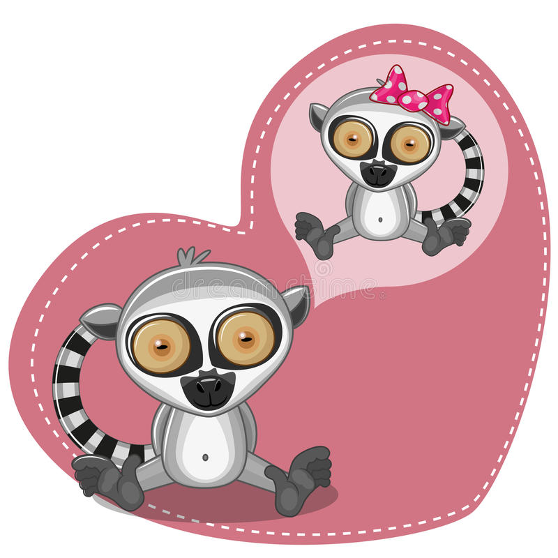 Dreaming Lemur. Greeting card Cute Dreaming Lemur stock illustration