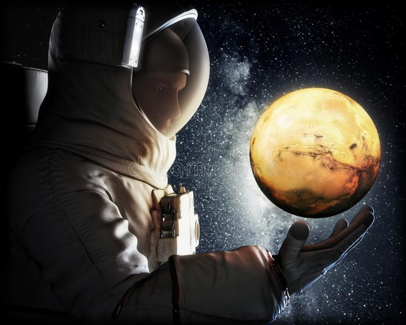 Dreaming of Mars. Astronaut reaching for the red planet of Mars. Exploration and journey to Mars concept. 3d rendering stock illustration