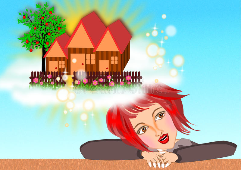 Dreaming of a new house royalty free illustration