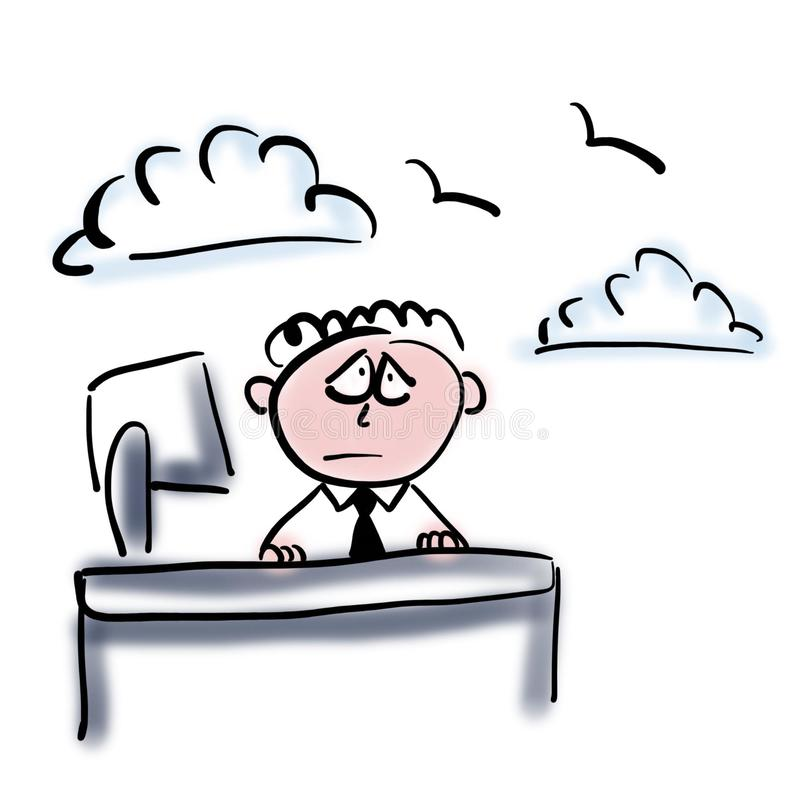 Dreaming office worker. He thinks about freedom royalty free illustration