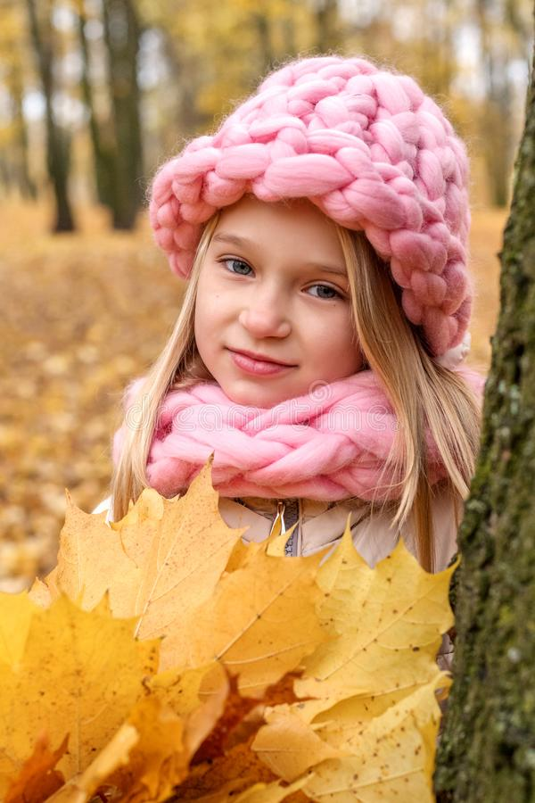 Dreaming pensive girl in a scarf and a cap of rough hand-knitting with a bouquet of maple leaves stands leaning back against a tre royalty free stock image