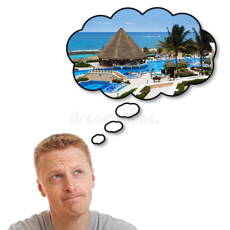 Dreaming about perfect holiday vacation stock images