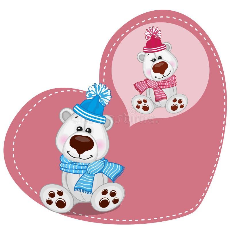 Dreaming Polar Bear. Greeting card Cute Dreaming Polar Bear vector illustration