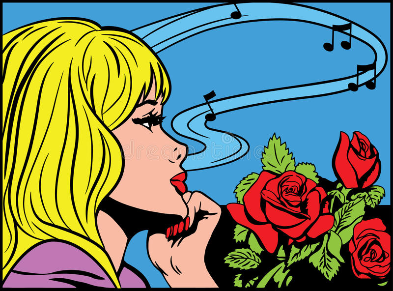 Download Dreaming pop art girl stock vector. Illustration of flyer - 10191232