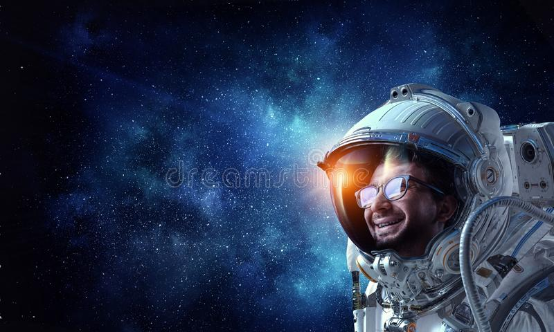 Dreaming about space. Mixed media stock image