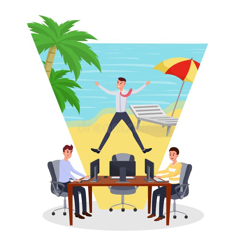 Dreaming about vacation flat vector illustration. Employees working while other worker on vacation characters. Man. Dreaming about vacation flat vector stock illustration