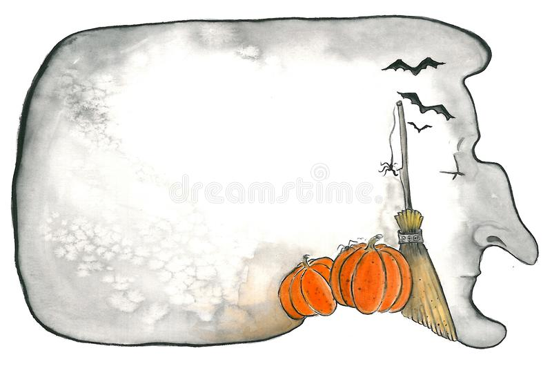 Dreaming witch. A hand drawn watercolor image of a witch dreaming of Halloween vector illustration