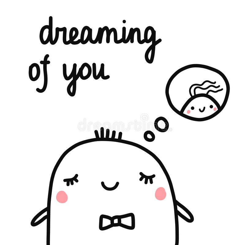 Dreaming of you hand drawn illustration with boy marshmallow dreaming of girl for prints posters articles banners and vector illustration