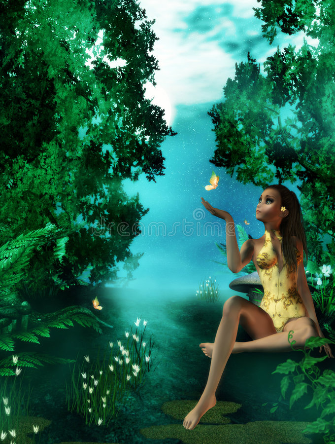 Dreamland. Fantasy artwork for your projects, digital background, digital beauty stock illustration