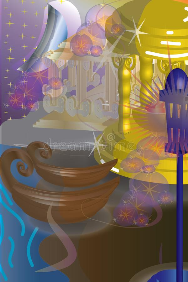 Dreamland scene with golden monument and boats royalty free illustration