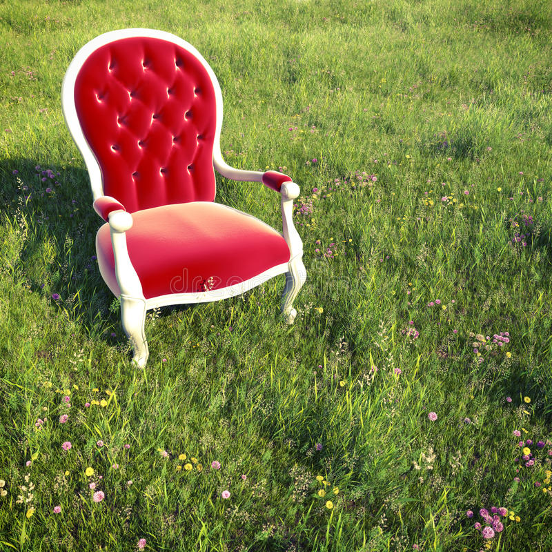 Dreamlike armchair on a meadow. Red velvet armchair alone on a flowery meadow with little cross process for a dreamlike atmosphere royalty free illustration