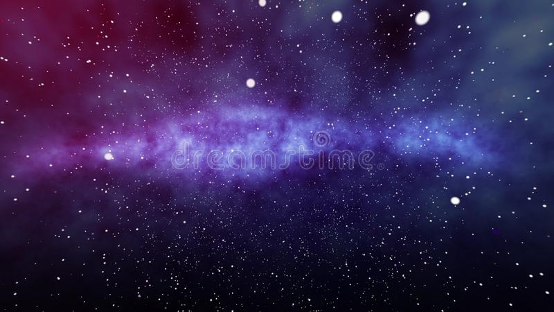 Star Field in Universe Illustration. A dreamlike 3d rendering of a star field of our universe with thousands of stars and planets located in the purple, blue and vector illustration