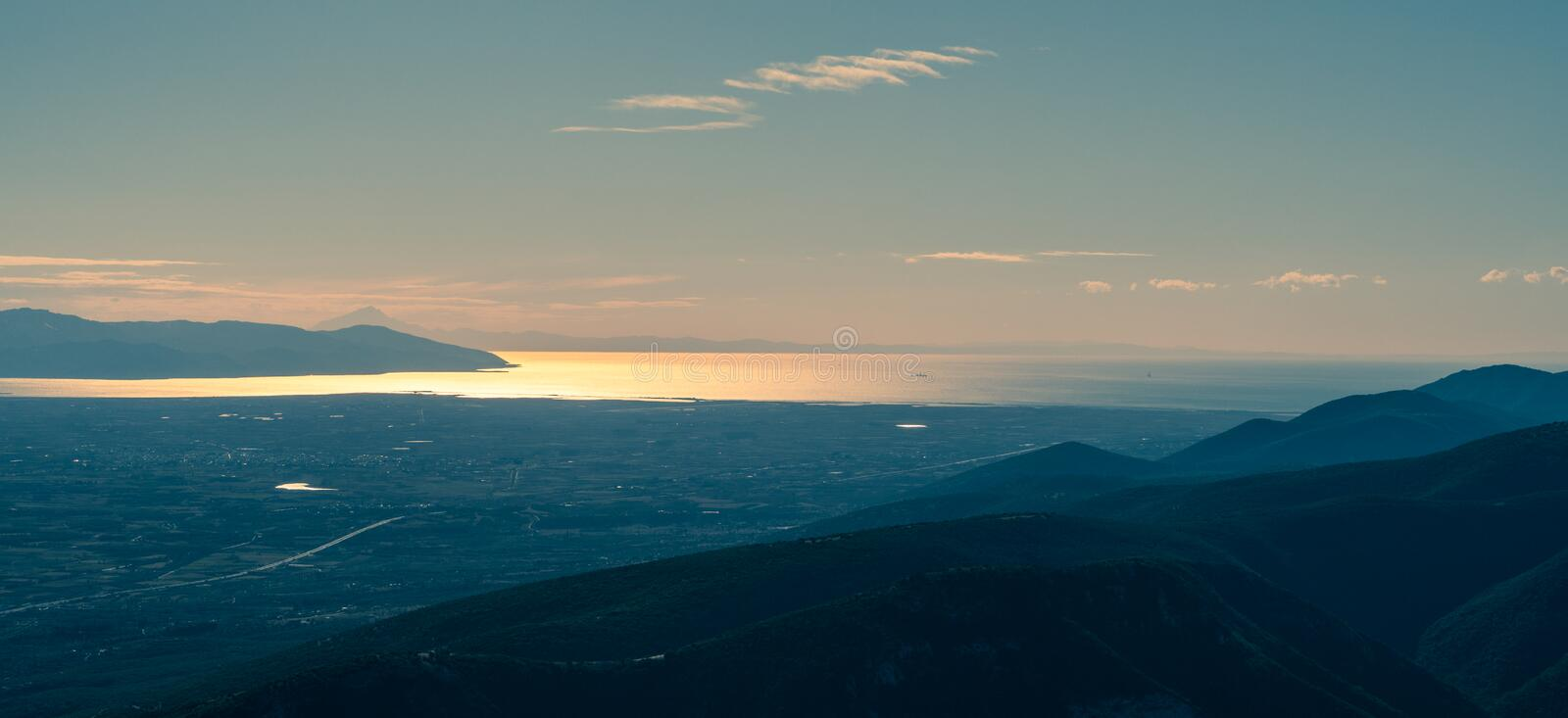Dreamlike panorama of the flatlands of Greece, near Kavala royalty free stock images