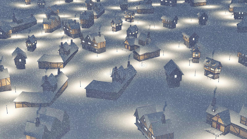 Dreamlike township at snowfall night Aerial view. Dreamlike snowbound township at heavy snowfall during nighttime. Decorative 3D illustration was done from my royalty free illustration