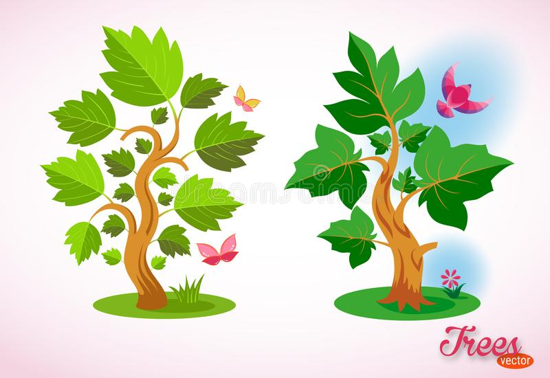Dreamlike vector trees. Ecology and gardening. Colorful bird, butterfly, flowers, grass and green lawn. stock illustration