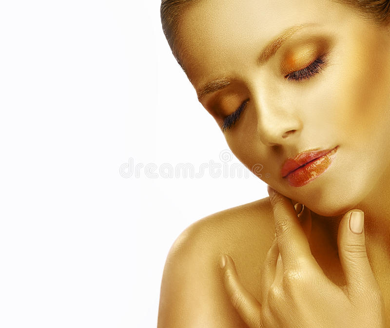 Dreams. Close up Portrait of Young Woman with Silky Skin royalty free stock photography