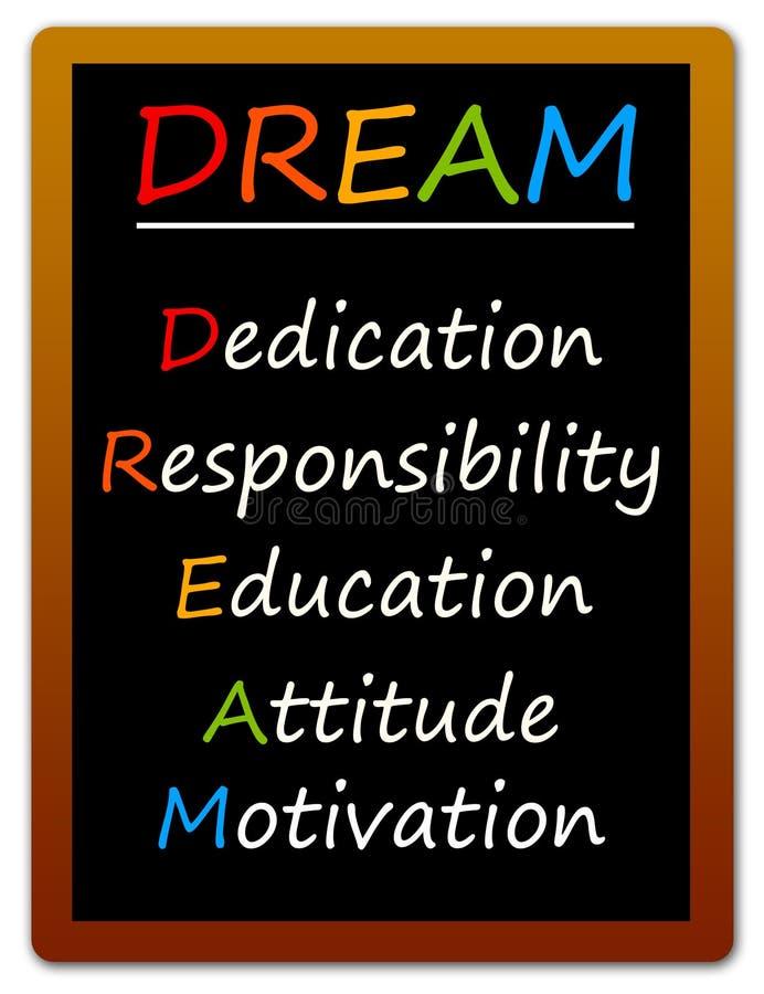 Dreams come true. Making your dreams come true with the right attitude stock illustration