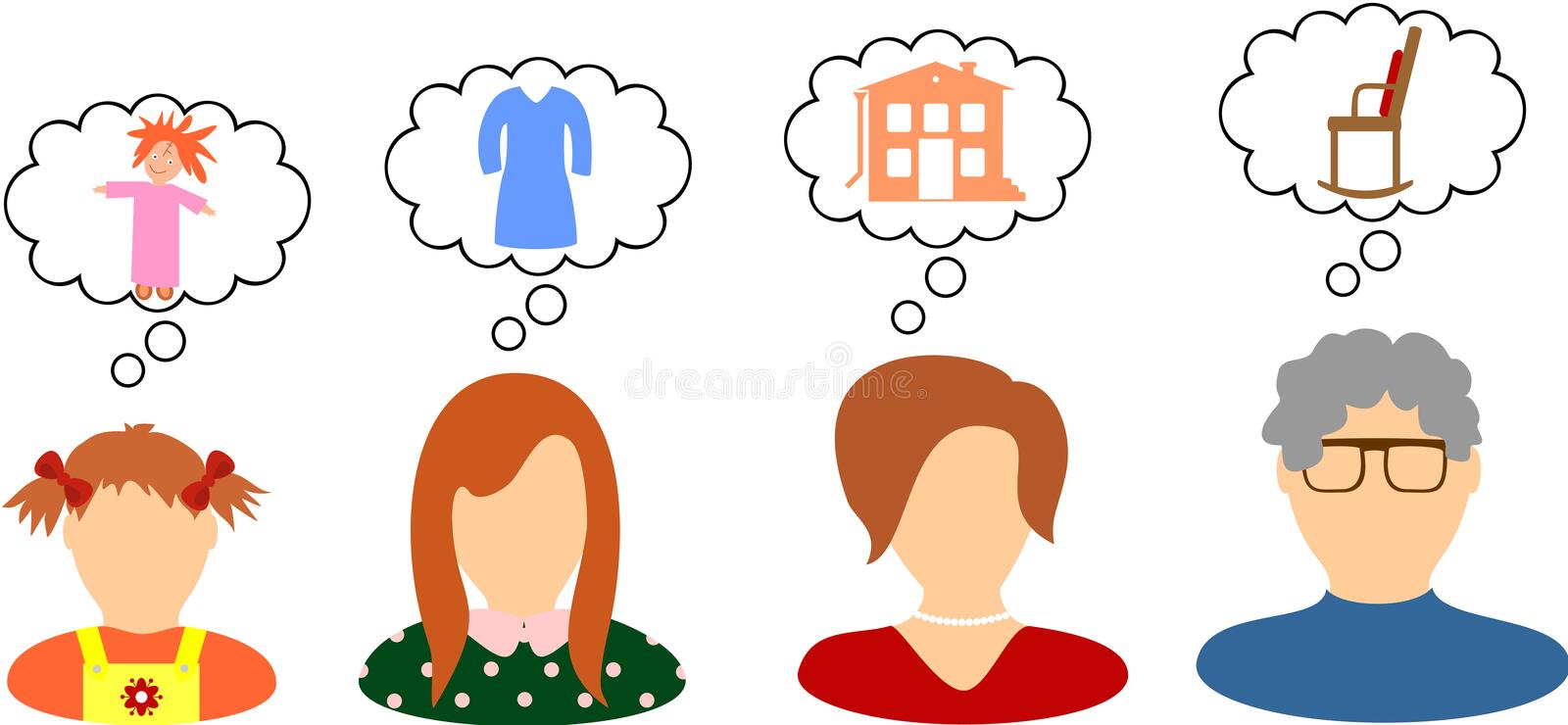 Dreams and desires of women. The dreams and desires of women in different ages royalty free illustration