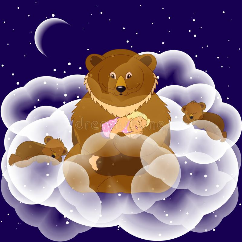 Dreams. Fantasy illustration. Fantastic bear with cubs in the cl. Ouds on a starry night. To design greeting cards wishing good night royalty free illustration