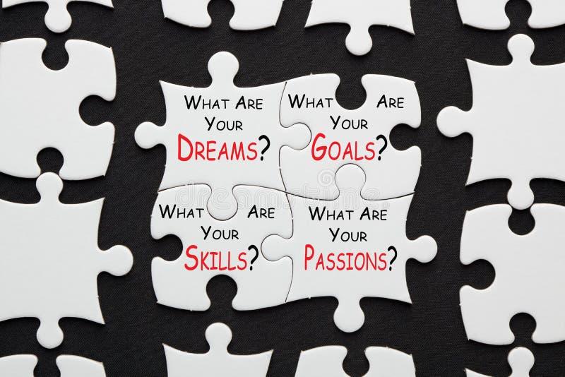 Dreams Goals Skills Passions stock photos