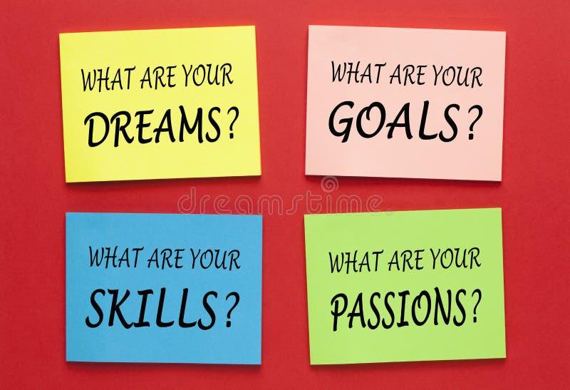 Dreams Goals Skills Passions stock photo