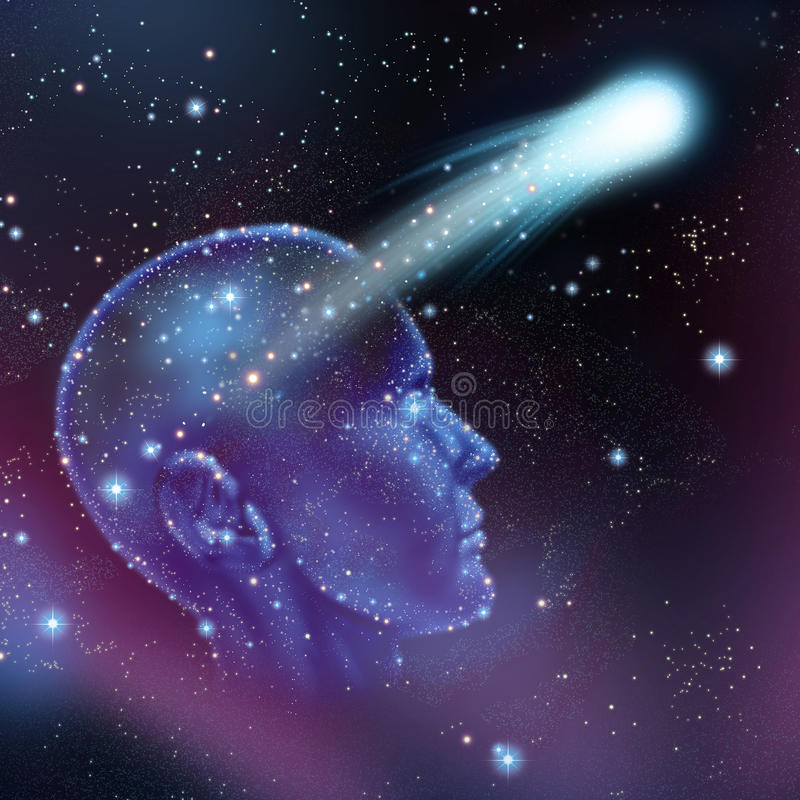 Dreams And Imagination. Concept as a group of stars on a night sky shaped as a human head with a shooting star flying as a make a wish metaphor or astronomy and stock illustration