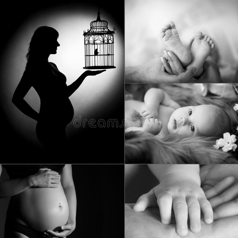 Dreams of motherhood. Black and white photo-collage. Beautiful pregnant women in the studio royalty free stock image