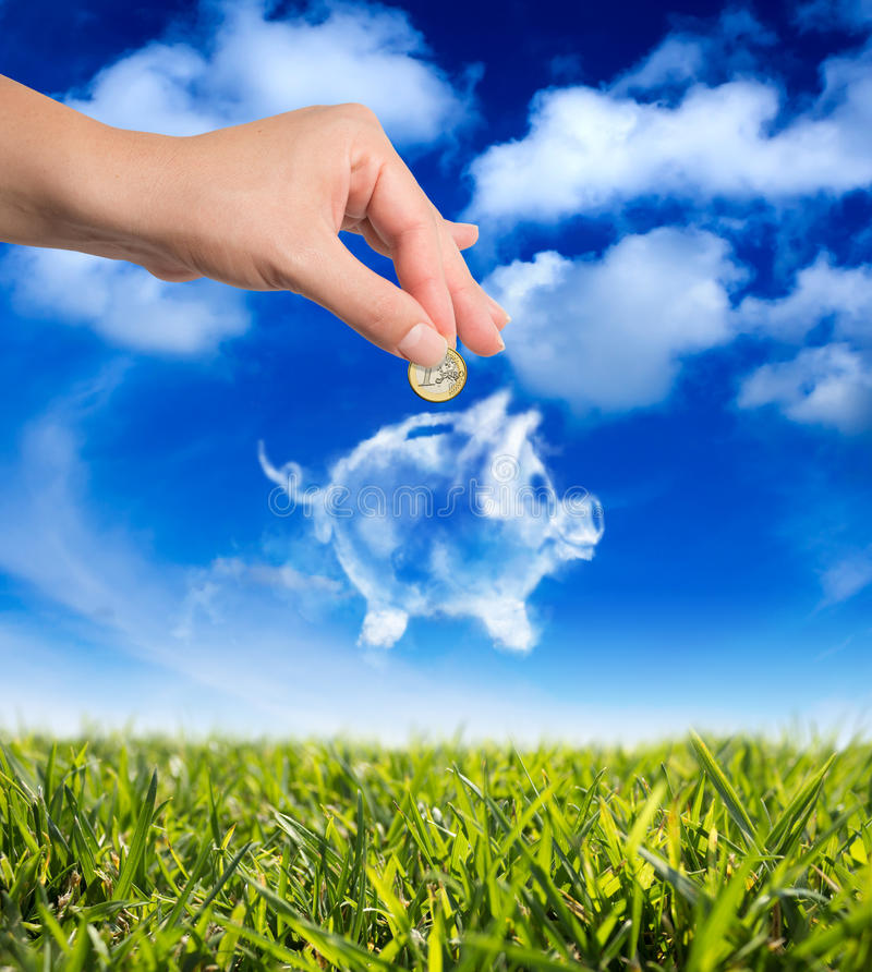 Dreams in the piggy bank royalty free stock image