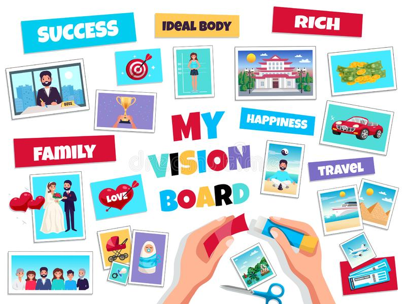 Dreams Vision Board Concept. With success and travel symbols flat isolated vector illustration royalty free illustration