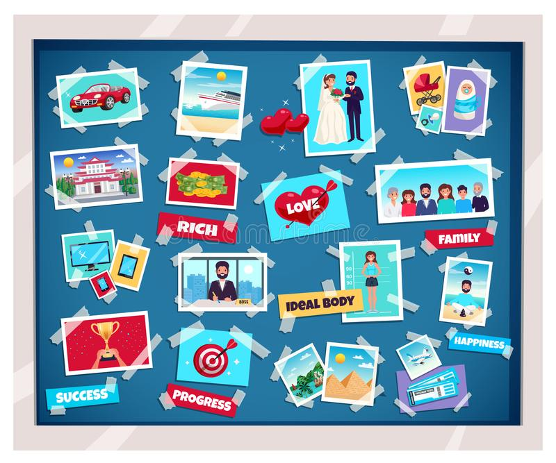 Dreams Vision Board. With success and family symbols flat isolated vector illustration stock illustration
