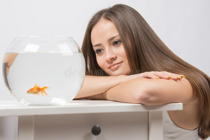 She dreams of watching the little goldfish in an aquarium. A young girl sits next to a round aquarium in which swimming goldfish royalty free stock photos