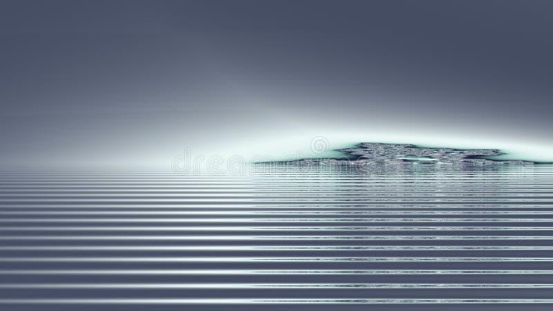 Dreamscape Skattö i en ogenomskinlighet av dimma royaltyfri illustrationer