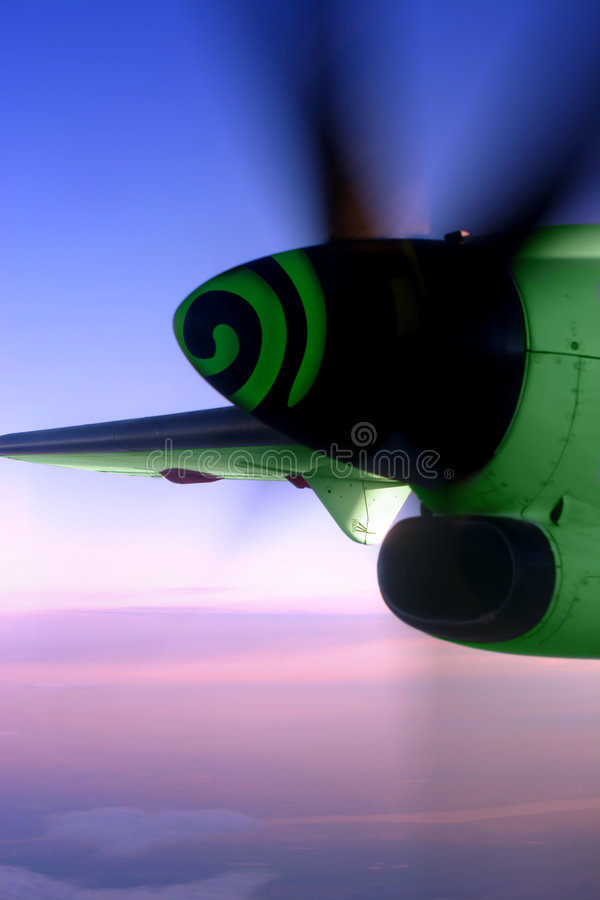 Dreamstime-Air. A plane's engine with a Dreamstime logo on it stock images