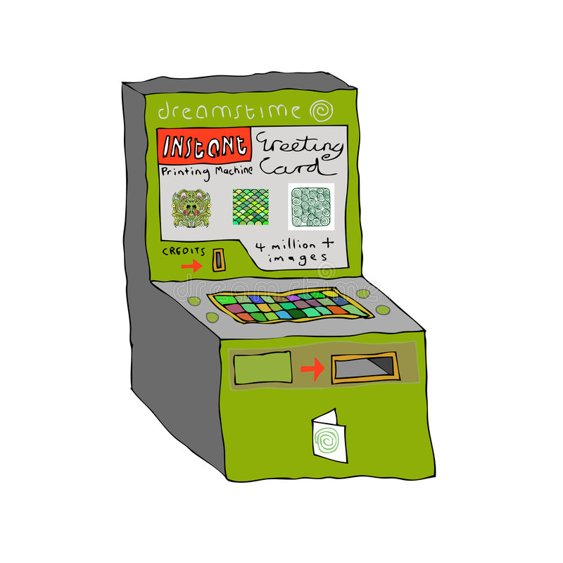 Dreamstime Machine. A concept illustration of a greeting card printing machine built especially for dreamstime, with all 4 million images stored to create your