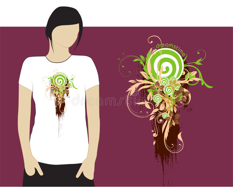 Dreamstime T-shirt design #3. Design of Dreamstime T-shirt in white color. Vector additional format available