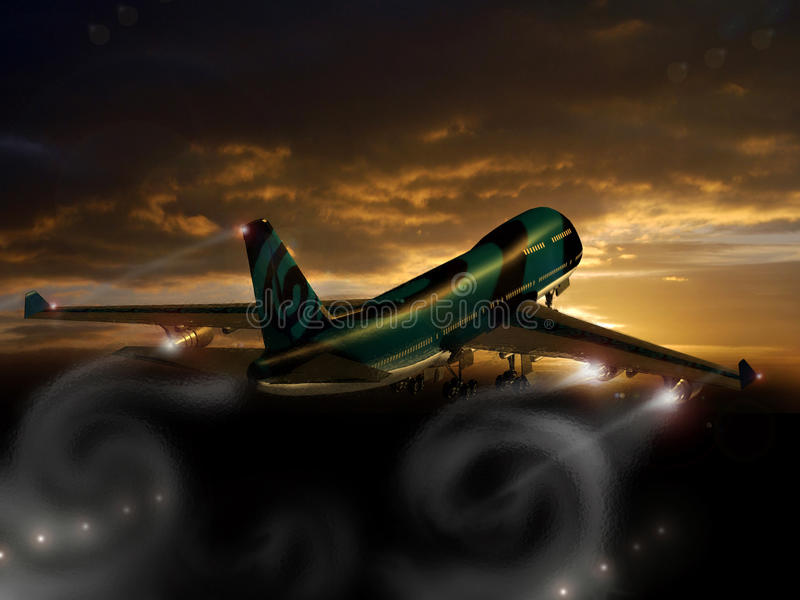 Dreamstime takeoff. Takeoff of a Boeing 747 with Dreamstime logo on its fuselage vector illustration