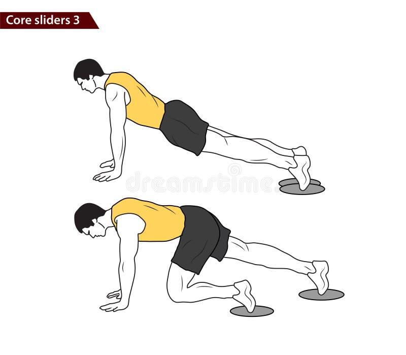 Core slider exercise vector illustration. Digital illustration of a fitness man with core slider exercise vector illustration royalty free illustration