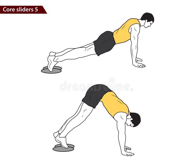 Core slider exercise vector illustration. Digital illustration of a fitness man with core slider exercise vector illustration stock illustration