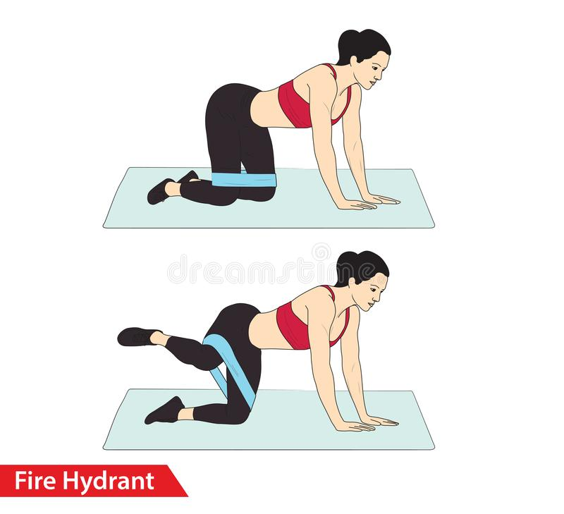 Woman doing Fire Hydrant workout with resistance band crunch for exercise guide. Woman doing Fire Hydrant workout with resistance band crunch vector stock illustration