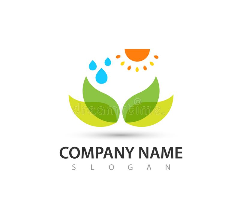 Sun water with nature care logo green concept and symbols template. People, logo. vector stock illustration