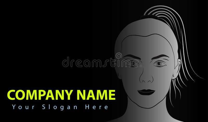 Woman Face Logo Abstract background Lines Design. Creative vector icon. Vector illustration. vector illustration