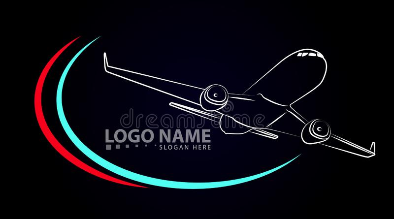 Plane Vector Icon black. Label Symbol for the Map, Aircraft. Editable illustration. royalty free illustration