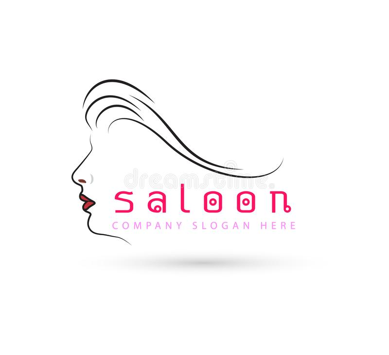 Hair woman and face, new red trendy vector logo and symbol. royalty free illustration